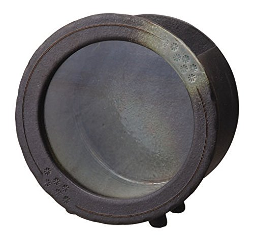 信楽焼 541-03 水流 黒釉丸水槽(小)【サイズ】W225×D140×H230mm B013BR5TQS
