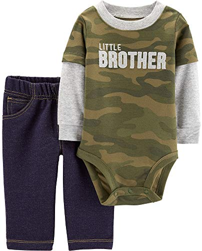 Carter's Baby Boys Graphic Slogan 2-Piece Bodysuit & Pant Set (24 Months, Brother/Camo) (Boys Cinched Pants)