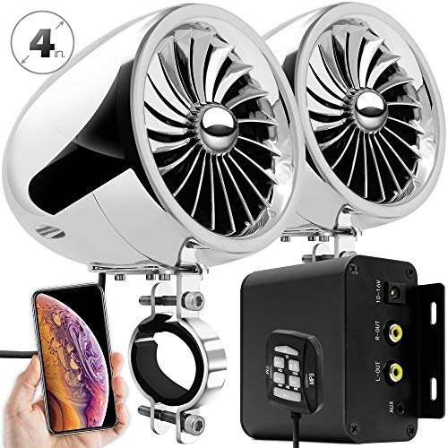 GoHawk TJ4-R Amplifier 4' Full Range Waterproof Bluetooth Motorcycle Stereo Speakers 1 to 1.5 in. Handlebar Mount Audio Amp System Harley Touring Cruiser ATV UTV RZR, AUX, FM Radio (TJ4-R Chrome)