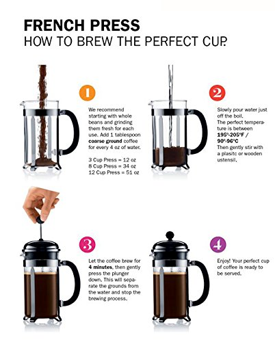 BOJE French Press Coffee Maker Cafetiere FREE Replacement Glass With Warranty Stainless ...