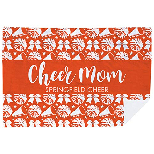 ChalkTalkSPORTS Personalized Cheerleading Premium Blanket | Cheer Mom Team Name | Orange -