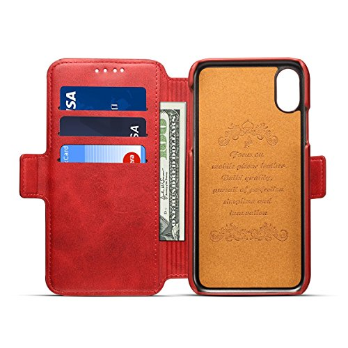 Scheam iPhone X Flip Cover, Case, Skins Card Slot [Stand Feature] Leather Wallet Case Vintage Book Style Magnetic Protective Cover Holder for iPhone X - Red by Scheam (Image #4)