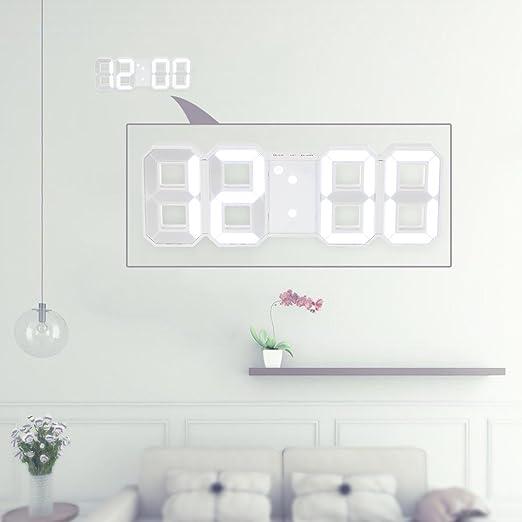 Decdeal Reloj digital de pared LED con pantalla de tiempo 12H ...