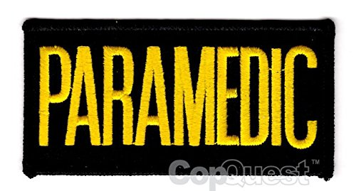 PARAMEDIC Chest Patch - 4 x 2 - Medium Gold Lettering - Black Backing - Sew-On