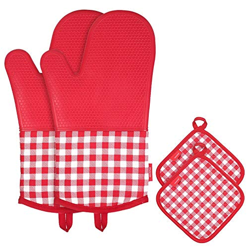 (esonmus Heat Resistant Silicone Oven Gloves Non-Slip Oven Mitts + 2 Cotton Pot Holders for Kitchen Cooking Baking Grilling Barbecue--Red Plaid)