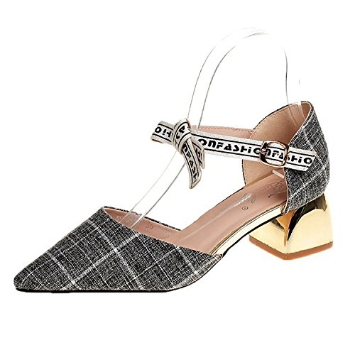WHL Shoes High-Heeled Shoes Sandals Tip Light Of Summer Stylish Grid Of Letters With Low-Like Dark Gray 35 by WHL Shoes