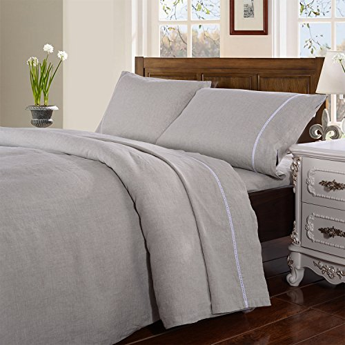 Simple&Opulence 100% Stone Washed Linen 4pcs Hollowed-Out Design Solid Sheet Set (Full, Linen)