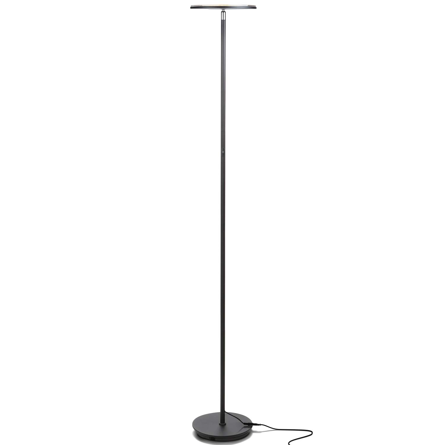 Brightech Sky Flux - Modern LED Torchiere Floor Lamp for Living Rooms & Bedrooms - Tall Pole, Standing Office Torch Lamp - Bright, Minimalist & Contemporary - Dimmable & Adjustable Light - Black