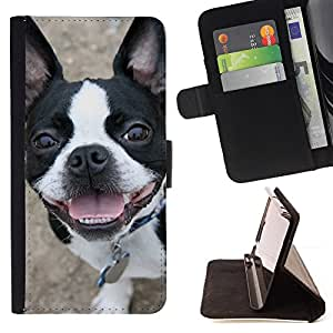 Boston Terrier Bull French Bulldog Canine - Painting Art Smile Face Style Design PU Leather Flip Stand Case Cover FOR Samsung Galaxy Core Prime @ The Smurfs