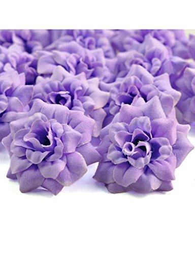 Zacoo Silk Roses Artificial Silk Flower Heads 50pcs. Silk Light Purple 50mm