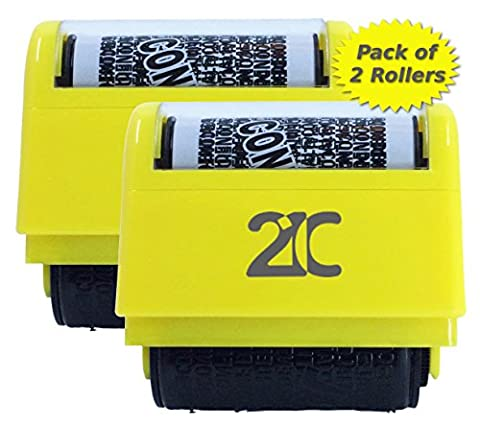 21C Identity Theft Protection Roller Stamp (2 Pack) ID Security Stamp 1.5 Inch Wide Yellow - Felt Tip Font
