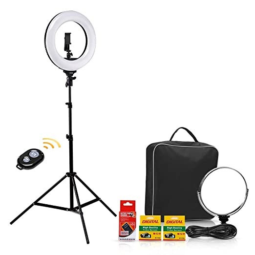 CRAPHY 14'' LED Photo Studio Ring Light 48W Bi-color Dimmable 3200k-5600k Kit with 2Battery, Bluetooth remote control, Light Stand, Hot Shoe, Cosmetic Mirror for Camera Smartphone Selfie Youtube Video