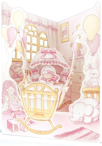 Santoro Interactive 3-D Swing Card,  Baby Girl Cradle Greeting Card