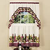 wine and grape kitchen curtains - Sweet Home Collection 3 Piece Kitchen Curtain Set Classic Design with Tier Pair and Swag, 36