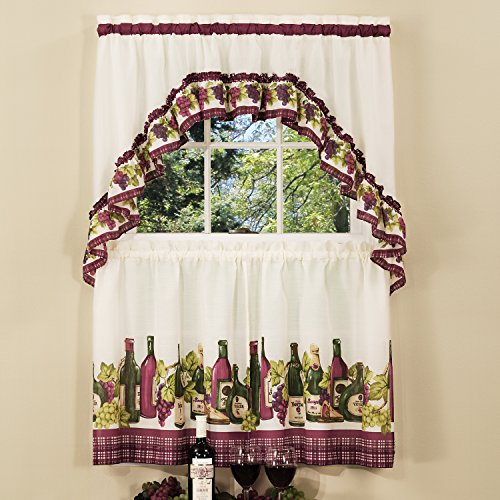 Sweet Home Collection Window Treatment Kitchen Curtain Set (3 Piece), 36