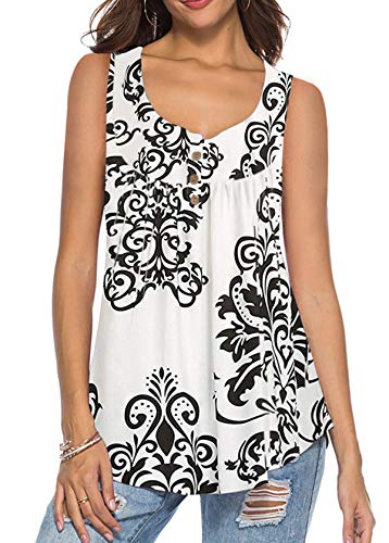 - Womens Fashion Floral T-Shirt Basic Sleeveless Pleated Tank Tops White X-Large