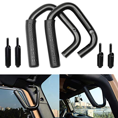 AUTOSAVER88 Front Grab Handles Roll Bar Grip Handles Compatible for Jeep Wrangler JK JKU Unlimited Sports Bubicon Sahara 2007-2018 2/4 Doors-Pair(Black)