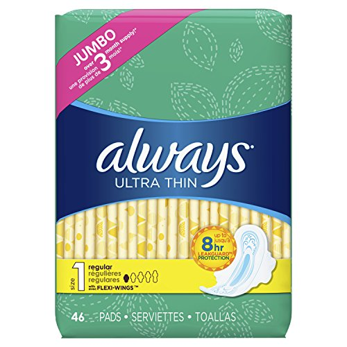 Always Ultra Thin, Size 1, Regular Pads With Wings, Unscented 46 Count (Thin Ultra Regular Pads)