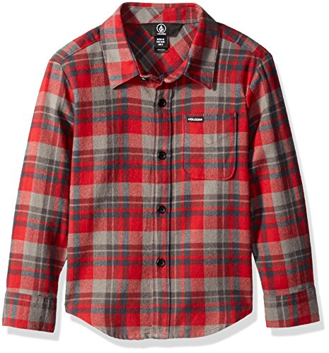 Volcom Boys' Little Boys' Hewitt Flannel Long Sleeve Shirt Youth, Blood Red, 2T