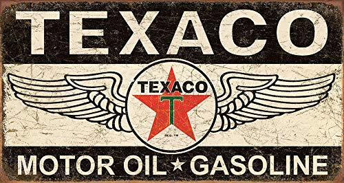 (mdrqzdfh Classic Car Metal Signs Texaco Winged Logo Tin Sign 12 X 18price Sign for Gas Station)