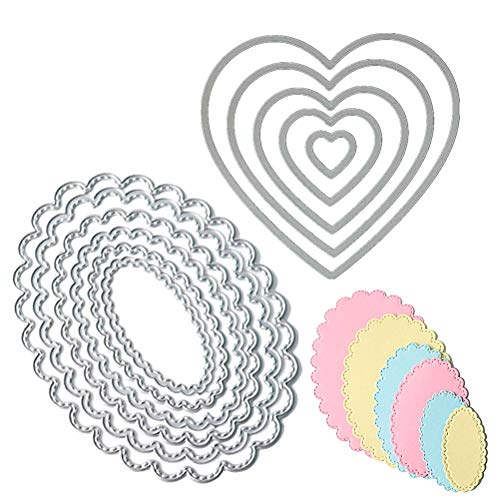 WarmShine 2 Pack Metal Cutting Dies Oval Shape Embossing Stencil Heart Shape Metal Template Mould for Scrapbook, Album Paper DIY Crafts & Card Making (Oval Shape&Heart Shape)