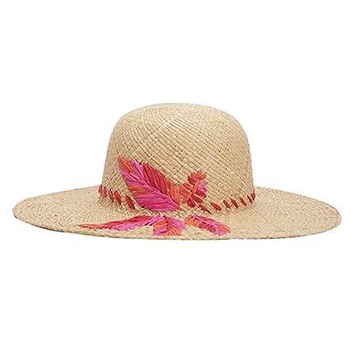 7f7e17c4f6cd99 Summer Hats for Women, Embroidery Leaf Raffia Straw Hat Lady's Beach ...