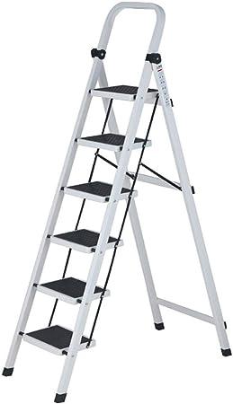 CHQYY Escalera - Escaleras para el hogar Escalera Plegable de Acero al Carbono Escalera multifunción de 6 escalones Escalera en Espiga (Color : Silver): Amazon.es: Hogar