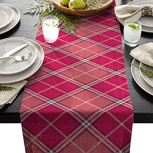(Linen Burlap Table Runner Dresser Scarves, Classic Vintage Scottish Plaid Kitchen Table Runners for Dinner Holiday Parties, Wedding, Events, Decor - 13 x 90 Inch)