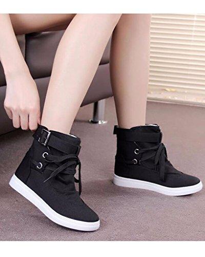 Minetom Mujer Otoño E Invierno Botas Hebilla Sólida Lona High Top Zapatos Cargadores Cómodo Botines Negro