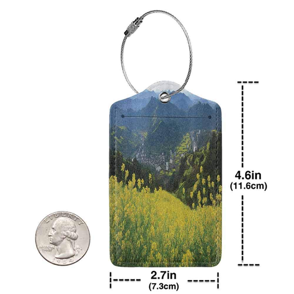 Small luggage tag Farm House Decor Flower Meadow over the Village Mountains in a Row Grass Fresh Field Quickly find the suitcase Yellow Green W2.7 x L4.6