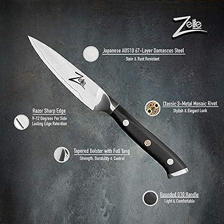 Zelite Infinity, Puntilla Cuchillo de 10 cm – Utensilios Cocina de Acero de Damasco Japonés AUS-10 de 67 Capas - Cuchillos Cocina con Afilado de Navaja, Excelente Consistencia de Corte