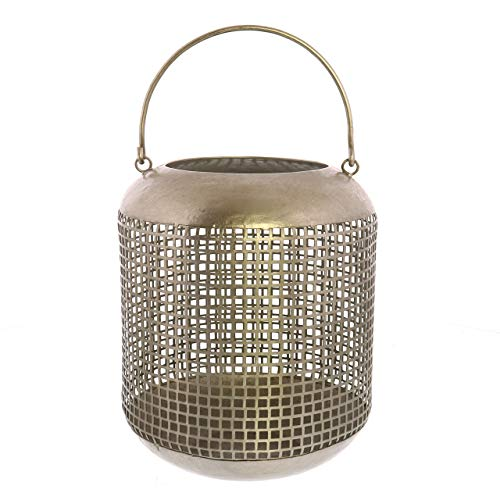 (My Swanky Home Classic Elegant Antique Silver Mesh Candle Lantern | 10