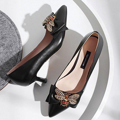 Black Bow Bas Strass Mariage Talons Chaussures Bout Court Pointu Hauts De Talon Aiguille Shallow Femmes Robe 54Zfqx1w1