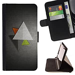 DEVIL CASE - FOR Samsung Galaxy S4 IV I9500 - Triangle Geometrical Art Green Red Modern - Style PU Leather Case Wallet Flip Stand Flap Closure Cover
