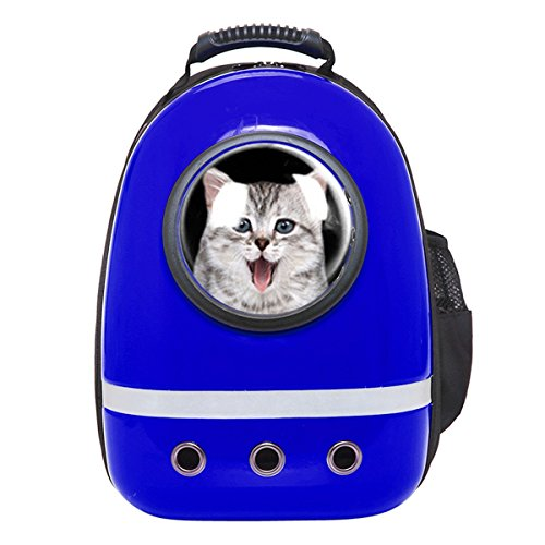 Zuoao Cat Dog Bubble Carrier Bag Astronaut Pet Backpack Airline Approved for Travel Hiking (Blue)