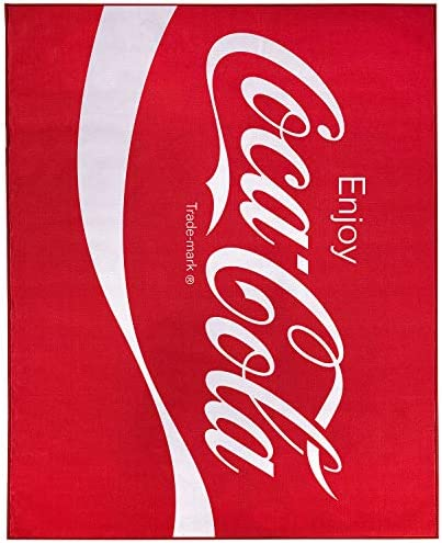 Coca-Cola Enjoy Logo Red Non-Slip Indoor Outdoor Area Rug Carpet 8-ft x 10-ft 96″ x 120″