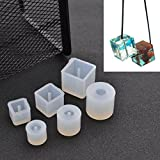 Sparklelife 6 Pcs Silicone DIY Bead Mold Round Square Shape Jewellery Making Hand Craft Tool