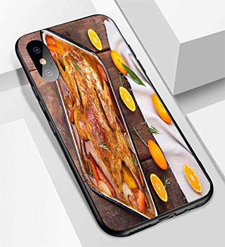 (iPhone X/XS Ultra-Thin Glass Back Phone case,Roasted Duck with Vegetables Citrus and Rosemary Christmas Festive Table Soft and Easy to Protect The Protective case)