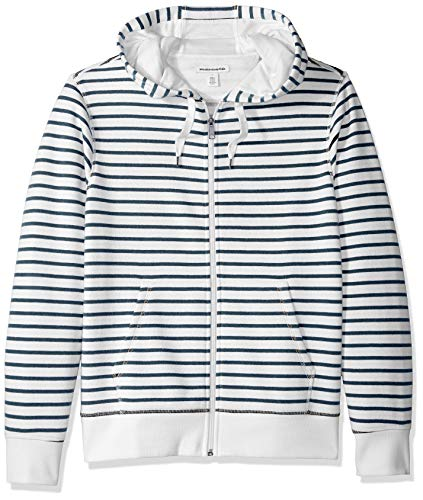 Amazon Essentials Men's Patterned Full-Zip Hooded Fleece Sweatshirt, White Stripe, X-Large ()