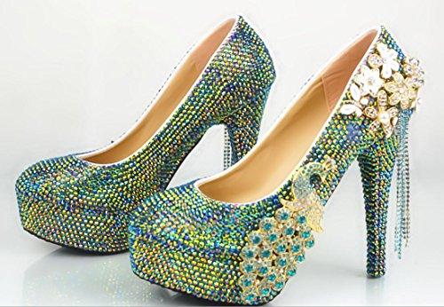 YCMDM Women Wedding Shoes rotonda Notte banchetti Scarpe Phoenix bocca superficiale diamante Tacchi alti grandi dimensione delle scarpe , 14 cm with high reservation , 41