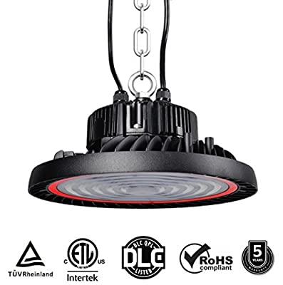 150W UFO LED High Bay Light, LED High Bay Lighting, SMD 3030 Led Meanwell Driver with Mount Bracket Hanging Ring Ultra Efficient 19500Lumens White Light, DLC ETL TUV CE Certified Commercial Industrial
