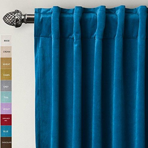 chadmade set of 2 solid matt velvet curtain panel drapes back tab rod pocket blue 50w x 96l inch each birkin collection - Velvet Curtain