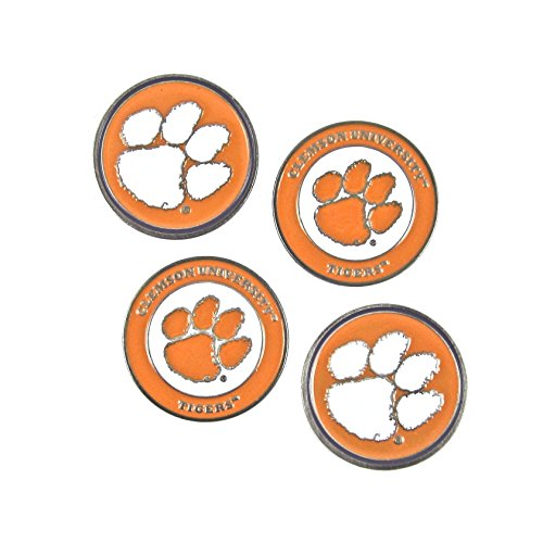 Clemson Tigers Double Sided Golf Ball Marker (Set of Four)