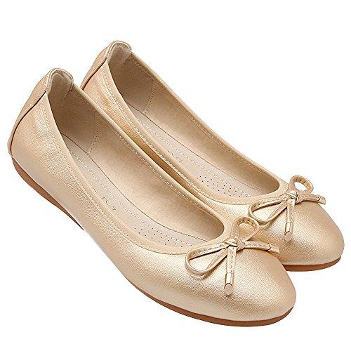 rismart Womens Dance Slip On Flat Bowknot Elegant Soft Ballet Flats Gold Wgfi78J
