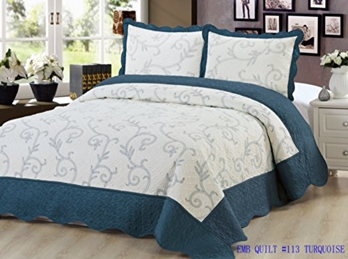 Quilt 3 Piece Bedding Bed set / Bedspread / Embroidered with 2 Pillow Shams by sazana