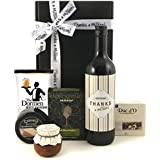 Luxuxry Wine Gift Hamper - Thanks A Million! Thank You Gift Box with Red Wine Cheese and Biscuits - Biscuit Gifts Delivered Next Day