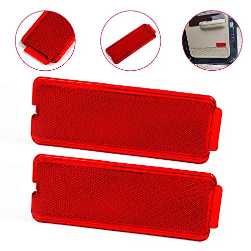 gplus New 2pcs Interior Door Trim Panel Reflectors Compatible for Ford 1999-2007 F250 SuperDuty Front or Rear Door Reflector F350 F450 F550 Red Door Trim Panel Reflector