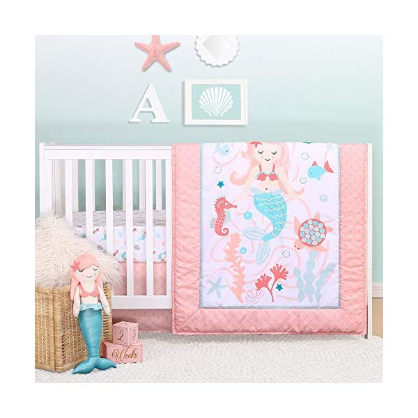 Mermaid Kisses 4 Piece Baby Girl Crib Bedding Set