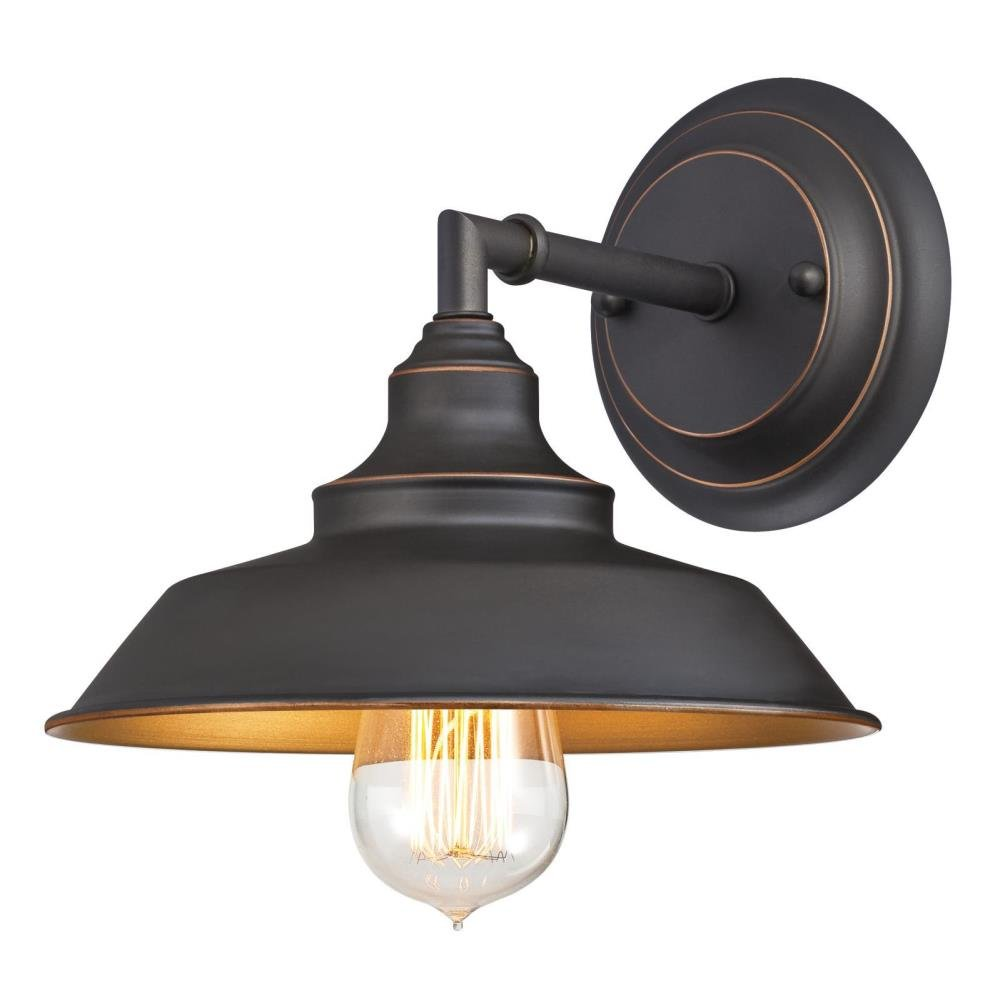 Westinghouse 6344800 Iron Hill One-Light Indoor Wall Fixture, Oil Rubbed Bronze Finish with Highlights and Metal Shade