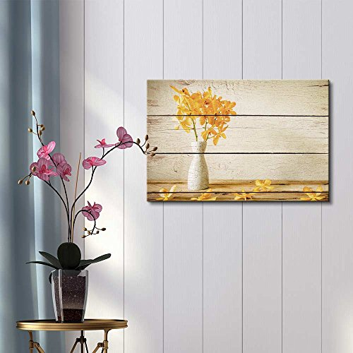 Yellow Flowers in a White Vase Rustic Floral Arrangements Pastels Colorful Beautiful Wood Grain Antique